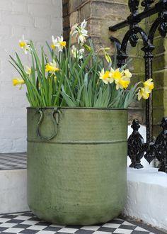 Verdigris tall metal planter - perfect for London patio!