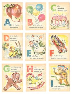 Baby's First ABC - Vintage Illustrated Childrens Alphabet Cards - Nursery - Clip Art - Digital Collage Sheet - Printable by LaLunaRossaDesigns on Etsy https://www.etsy.com/listing/193720239/babys-first-abc-vintage-illustrated