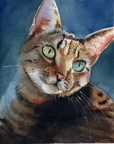 Brown Tabby Cat Art Print of my watercolor painting Artwork Artist reproduction gift cat lover by rachelsstudio on Etsy https://www.etsy.com/listing/118414192/brown-tabby-cat-art-print-of-my #CatWatercolor