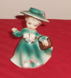Vintage Sonsco lady girl woman figurine  holding her clutch  purse