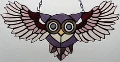 15 inches from wing tip to wind tip and six inches high this original design, one of a kind, stained glass owl was made in shades of purple and given a . Peek-A-Boo Purple Owl Making Stained Glass, Stained Glass Birds, Stained Glass Designs, Stained Glass Projects, Stained Glass Patterns, Stained Glass Windows, Window Glass, Peek A Boo, Purple Owl