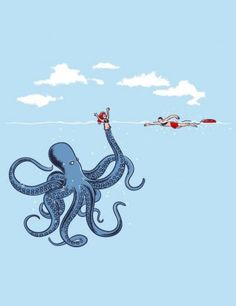 Oh, this is so wrong...I like octopi!  Octopi are cute, funny animals!  This thing must be related to the Kraken!