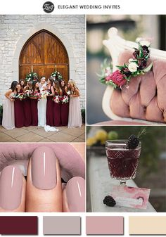 2015 trending marsala and mauve purple wedding color palettes