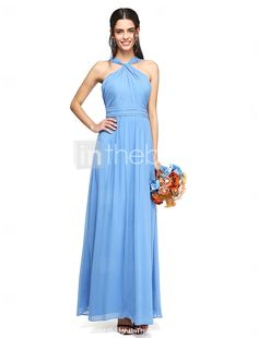 A-Line Halter Floor Length Chiffon Bridesmaid Dress with Sash / Ribbon Criss Cross Ruching by LAN TING BRIDE®  sc 1 st  Pinterest & Pale blue bridesmaid dress | ASOS Waist Maxi Dress | Light Blue ... Aboutintivar.Com