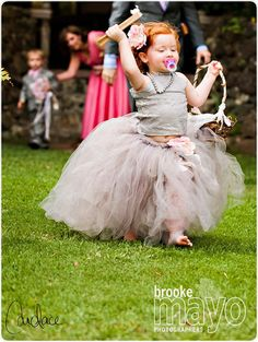 Gray Lace and Tulle Flower Girl Dress -Formal Wear Tutu and Detachable Train--Pink Champagne--Perfect for Weddings