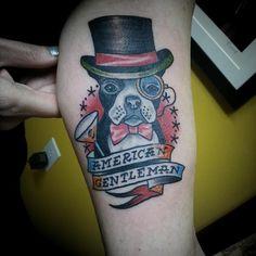 My Boston Terrier tattoo, done by Barrett Fiser at @electrictattoonj