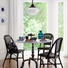 446736ea8f427 La Coupole Round Iron Bistro Table with Marble Top