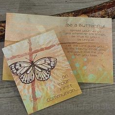 Butterfly and Cross First Communion Card