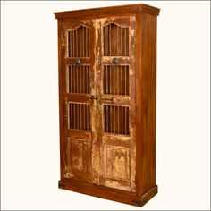 Lincoln Study Reclaimed Wood U0026 Iron Bookcase Armoire Cabinet