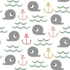 Whale Watching in Pastels fabric by natitys on Spoonflower - custom fabric