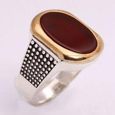 Akik taşlı gümüş erkek yüzüğü