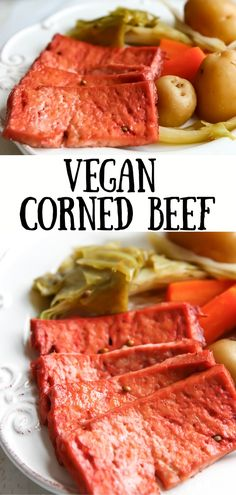 """Cook tofu, tempeh, or seitan in a flavorful corned """"beef"""" broth. Throw in potatoes, carrots and cabbage for a full meal. Informations About Amazing Vegan Corned Beef! Easy Vegan Dinner, Vegan Dinner Recipes, Delicious Vegan Recipes, Veggie Recipes, Whole Food Recipes, Vegetarian Recipes, Cooking Recipes, Seitan, Tempeh"""