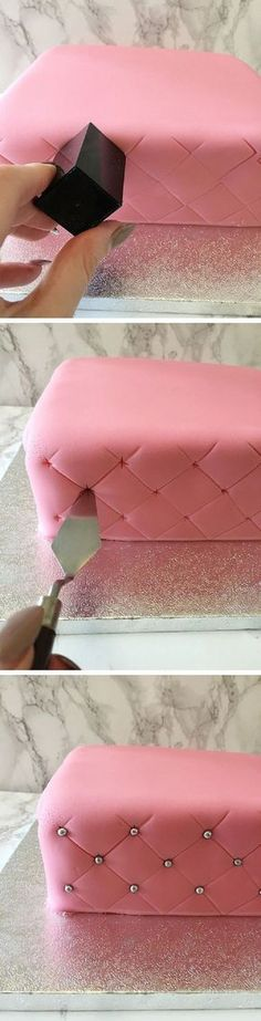 How to Create a Super Simple Quilted Effect - 17 Amazing Cake Decorating Ideas, . How to Create a Super Simple Quilted Effect - 17 Amazing Cake Decorating Ideas, Tips and Tricks That'll Make You A Pro Cake Icing, Fondant Cakes, Eat Cake, Cupcake Cakes, Simple Fondant Cake, Fondant Tips, Fondant Tutorial, Quilted Cake Tutorial, Buttercream Frosting