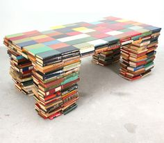 Recycling paper, old books, newspapers and magazines are a unique furniture design trend that turn useless items into stylish home furnishings Recycled Books, Recycled Materials, Old Books, Vintage Books, Book Furniture, Upcycled Furniture, Paper Furniture, Unusual Furniture, Library Furniture