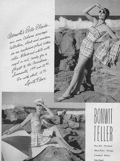 Stylish plaid beach fashions from 1959. #vintage #1950s #fashion MY MOM WORE THIS