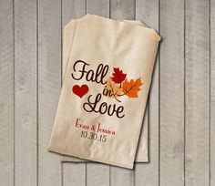 """These """"Fall in Love"""" wedding favor bags will be a cute addition your fall wedding, engagement party, or bridal shower. Sold in sets of 20. They're perfect for y"""
