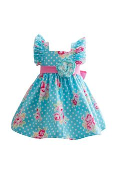 Girl Baby Toddler Vintage Evelyn Dress available in sizes in various polka dot fabrics. Full of gorgeous details like flutter sleeves, button back bodice, and a lovely bright pink sash. Blue Gingham, Gingham Dress, Navy Blue, Black Sparkle Dress, Polka Dot Fabric, Polka Dots, Moda Vintage, Sweetheart Dress, Dress Picture