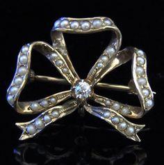 Incredible Old Mine Cut Diamond Seed Pearl 14k Gold Bow Brooch FOB Victorian  | eBay