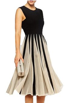 unique patterned Womens pleated sleeveless dress