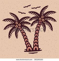 Traditional tattoo flash palms, Vector illustration on grange texture background