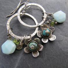Hoop Earrings Wire Wrapped Turquoise Opal Long Dangling by artdi, $95.00