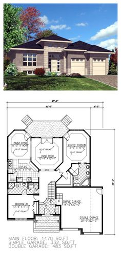 Contemporary House Plan 50307   Total Living Area: 1470 sq. ft., 2 bedrooms & 2 bathrooms. #houseplan #contemporary