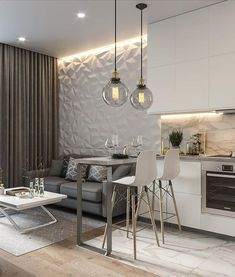 30 kitchen design ideas the starting point in your dream kitchen remodel Living Room Kitchen, Home Decor Kitchen, Home Design, Interior Design Living Room, Living Room Designs, Kitchen Design, Interior Livingroom, Small Apartment Interior, Apartment Design