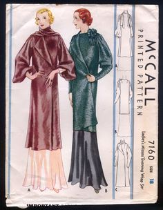 1932 McCall Pattern - Ladies Evening Wrap Coat - Beautiful!!  Rare!! nsld 125+4 3/23/15
