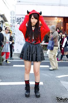 Meet the fun Ayano in Harajuku, featuring a devil horns hoodie. Ayano is 15 years old, a student, and fan of visual kei music.