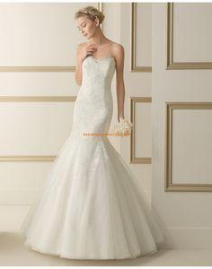 Moderne trägerlose Meerjungfrau Hochzeitskleider mit Applikation 173 EVELINE   luna novias 2014