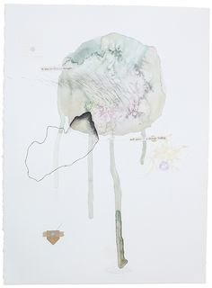 """Thought Fragments, Fig. 6 11"""" x 15""""  – watercolor, pencil, thread, wax, charcoal, india ink, paper, tape  Abstract mixed-media watercolor paintings by Claiborne Colombo."""
