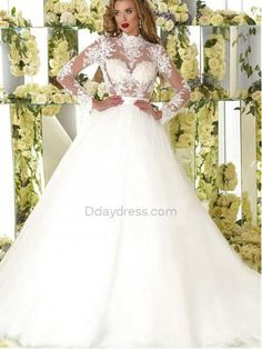 db6eed4c4bec0 Elegant Tulle Illusion High Neckline See-Through Ball Gown With Lace  Appliques Wedding Dress #