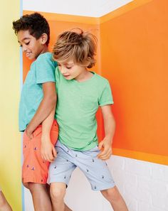 boys' garment-dyed T-shirt, Stanton short with sailboat critters and Stanton short with pelican c Preteen Fashion, Fashion Kids, Fashion Shoot, Boy Outfits, Summer Outfits, Summer Clothes, Toddler Outfits, Toddler Boys, Kids Boys