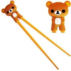 Makhry Cute Rilakkuma Bear Plastic Chopsticks With Silicone Guides -Brown Color, 2015 Amazon Top Rated Chopsticks & Chopstick Holders #Kitchen