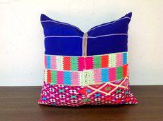 Hand Woven Decorative Pillow Case Made Of Tradition Ethnic Karen Shirt / Tribal Karen Design