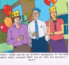 office party by illustrator: tom mckee