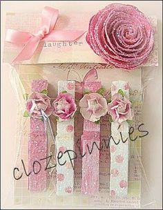 fabric covered clothespins. Love this