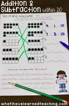 Add and subtract within 20 by making 10.  Start with a ten frame then find the digit that makes 10.  Write the matching equations.  A fun cut and paste worksheet.