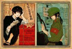 Kiku and Yao - Art by Zheng En Cute Short Love Story, Hetalia Japan, Hetalia Fanart, Cartoon Crossovers, Fandom, Axis Powers, Manga Pictures, Manga Comics, All Anime