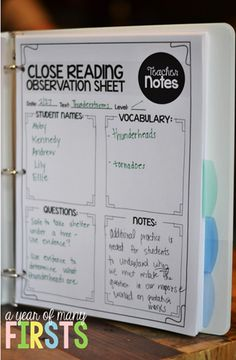 a year of many firsts: Close Reading for Beginners. Like this observation notes sheet for teachers! Close Reading Strategies, Guided Reading Groups, Reading Lessons, Reading Resources, Reading Skills, Teaching Reading, Reading Binder, Reading Record, Reading Notes