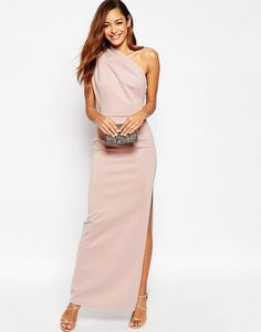 One shoulder maxi dress with exposed zip by Asos. Maxi dress by ASOS Collection Thick stretch fabric One shoulder neckline Empire seam Exposed size. Tall Dresses, White Maxi Dresses, Event Dresses, Formal Dresses, White Dress, Nude Dress, Asos Dress, Pink Dress, Dress Up