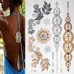 [Visit to Buy] Sexy  temporary tattoos gold necklace bracelet metal temporary tattoo tattoo products women tattoo flash of fake gold and silver #Advertisement