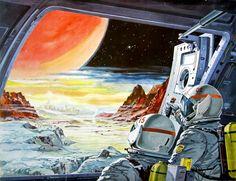 Das Neue Universum 82, 1965In fremden Sphären. Das größte Abenteuer in der Geschichte der Menschheit steht noch bevor: Die Begegnung mit vernunftbegabtem Leben auf anderen Planeten. Eine phantastische Landschaft breitet sich vor den Augen der kühnen Raumfahrer aus, die es gewagt haben, in ferne Sternsysteme vorzustoßen, und als erste ihren Fuß auf einen der Milliarden bewohnter Weltkörper zu setzen. Glutig hängt der Ball einer mächtigen Sonne am tiefschwarzen Firmament un