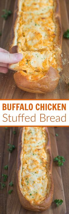Buffalo Chicken Stuffed Bread – Crusty artisan bread filled with buffalo chick. Buffalo Chicken Stuffed Bread – Crusty artisan bread filled with buffalo chicken dip is a perfect Snacks Für Party, Appetizers For Party, Appetizer Recipes, Sandwich Recipes, Cheap Appetizers, Chicken Appetizers, Sandwich Ideas, Party Dips, Health Appetizers