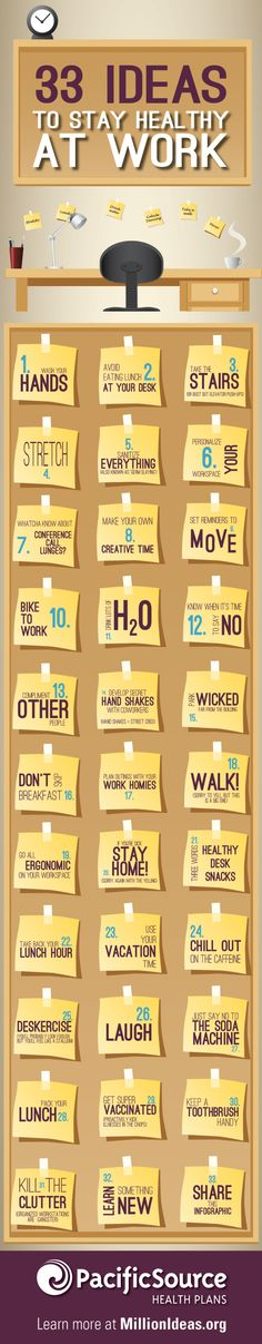Infographic: 33 Ideas to Stay Healthy at Work | Million Ideas