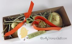 Make Cardstock Carrots by bending Paper!! Peeps Easter Treat box with Stampin' Up!'s For Peep's Sake Stamp Set