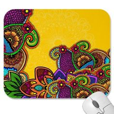 Shop Paisley Paradise Mouse Pad created by BAbdoyan. Paisley Design, Paisley Pattern, Traditional Henna, Yellow Background, Personalized Gifts, Body Art, Tattoo Designs, How To Draw Hands, Paradise
