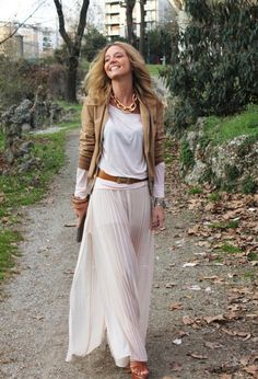 Choose a leather jacket in a soft color like this tan color which is versatile and adds an extra layer of warmth for chilly Spring days.Pair it with a maxi skirt and statement necklace!