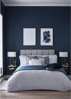 Dark Blue Bedrooms, Blue Master Bedroom, Blue Bedroom Decor, Room Ideas Bedroom, Bedroom Colors, Home Bedroom, Modern Bedroom, Blue Feature Wall Bedroom, Dark Bedroom Walls