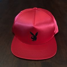 f4c52182 SUPREME x PLAYBOY SATIN 5-PANEL HAT RED S/S 2016 BOX LOGO NEW 100%  AUTHENTIC NYC
